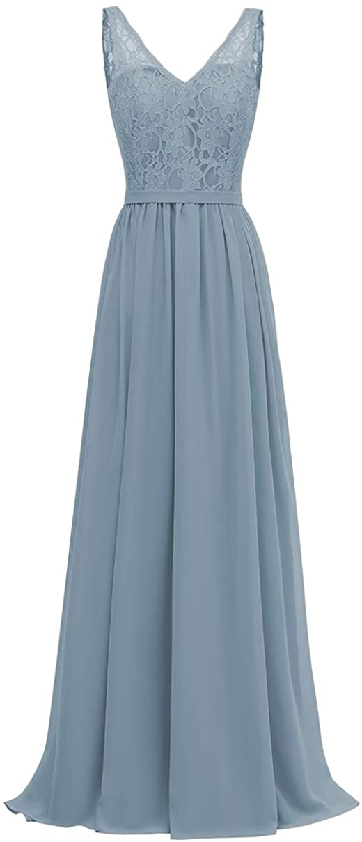 Женские элегантные кружевные платья подружки невесты с V-образным вырезом, длинные шифоновые вечерние платья-трапеции, платья для выпускно...