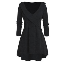 Women Autumn Winter Draped Long Sleeve Irregular V-Neck Loose Camiseta Pullover Tops Blusas Feminina Plus Size