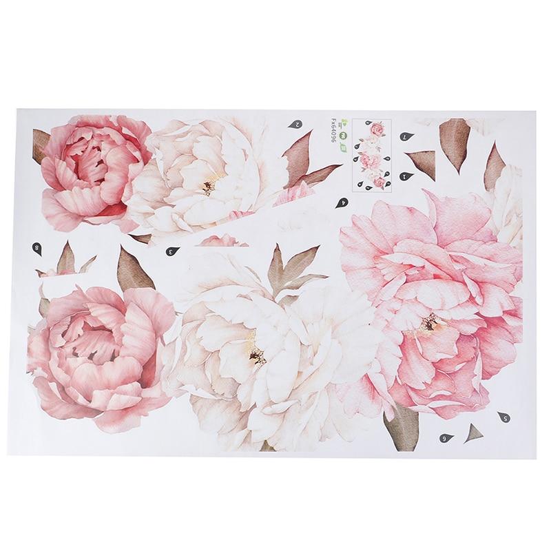 Большой цветы, пионы на стены стикер романтический дисплей для спальни детская комната искусство DIY домашний декор Новинка