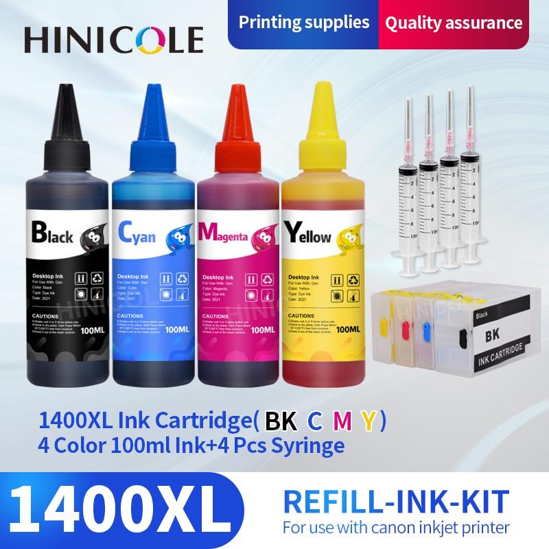 Tinta + Recarregável Cartucho de Tinta Pgi1400 para Canon Hinicole Impressora Maxify Mb2040 Mb2340 Mb2140 4*100ml Pgi-1400xl Pgi-1400