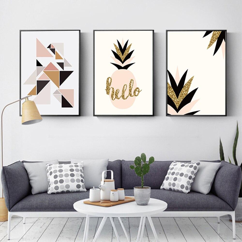 Moderno nórdico geometría Simple planta dorada hojas mano lienzo pinturas al óleo...