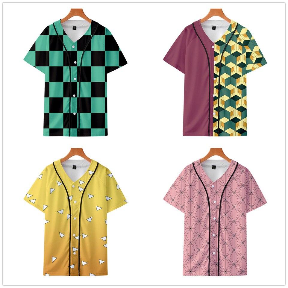 Anime Demon Slayer Kimetsu no Yaiba Cosplay Tanjiro Kamado béisbol Camiseta de manga corta Camiseta de moda Harajuku camiseta ropa