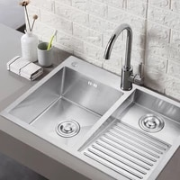 304 stainless steel manual laundry sink with washboard integrated balcony laundry tub single slot thickened double bowl