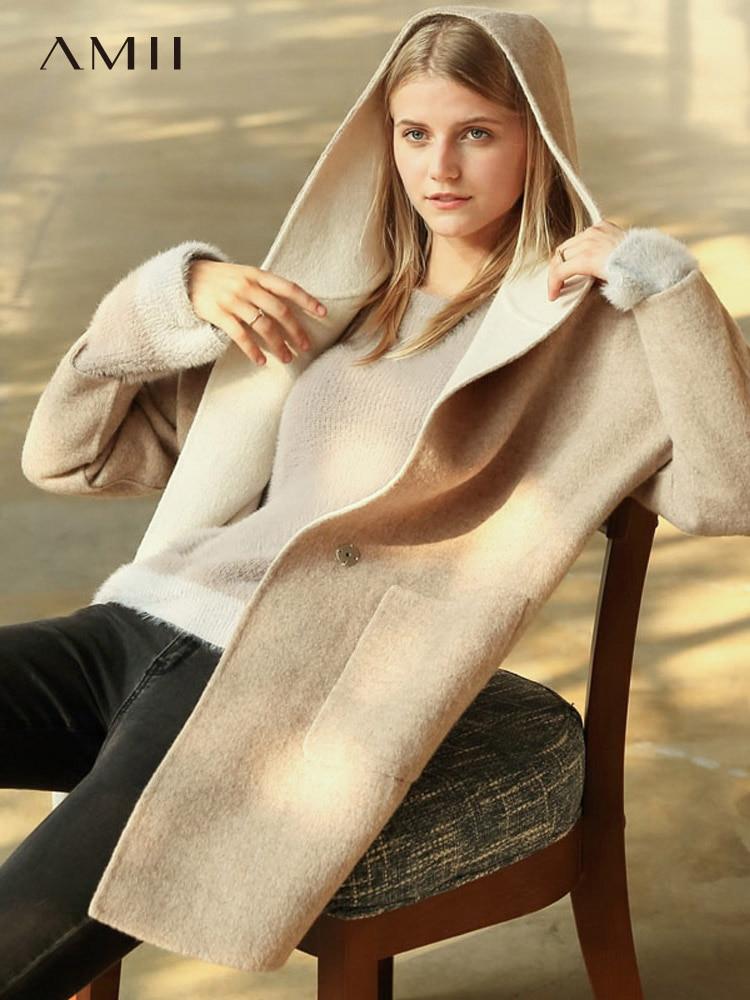 Amii Double-sided Wool Jacket Women Winter Fashion Hooded Loose Solid Coat Female Blends 11840478