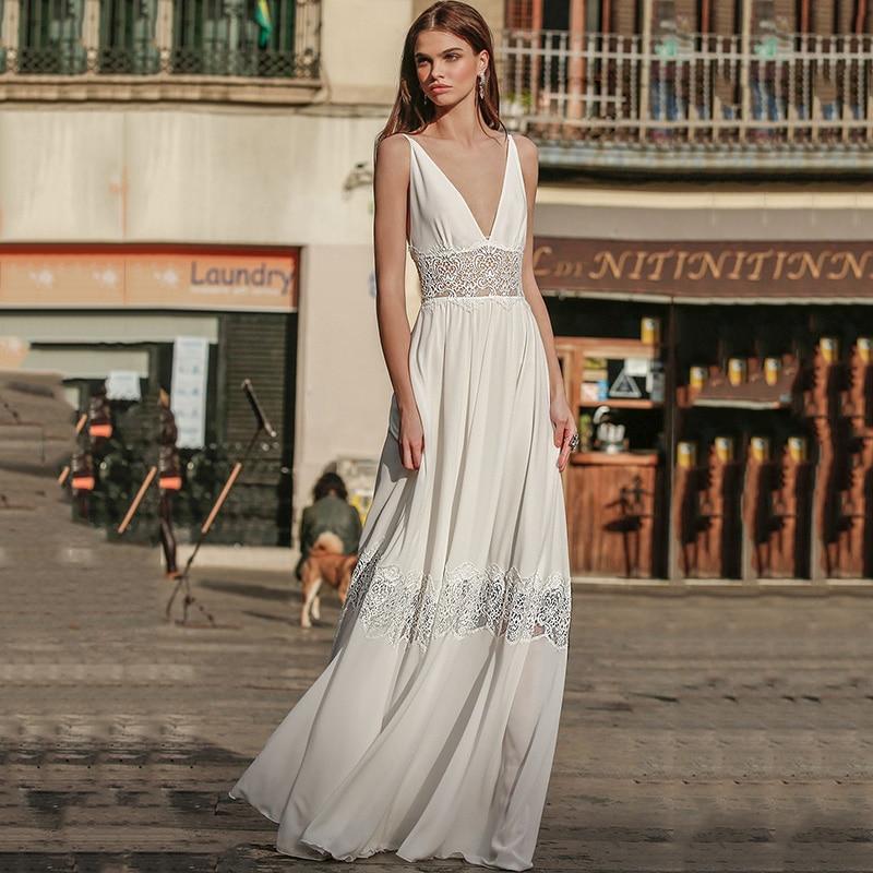 Eightree Summer Beach Wedding Dresses V Neck Open Back Bride Dress 2021 Lace Wedding Gowns Floor Length Women Mariage