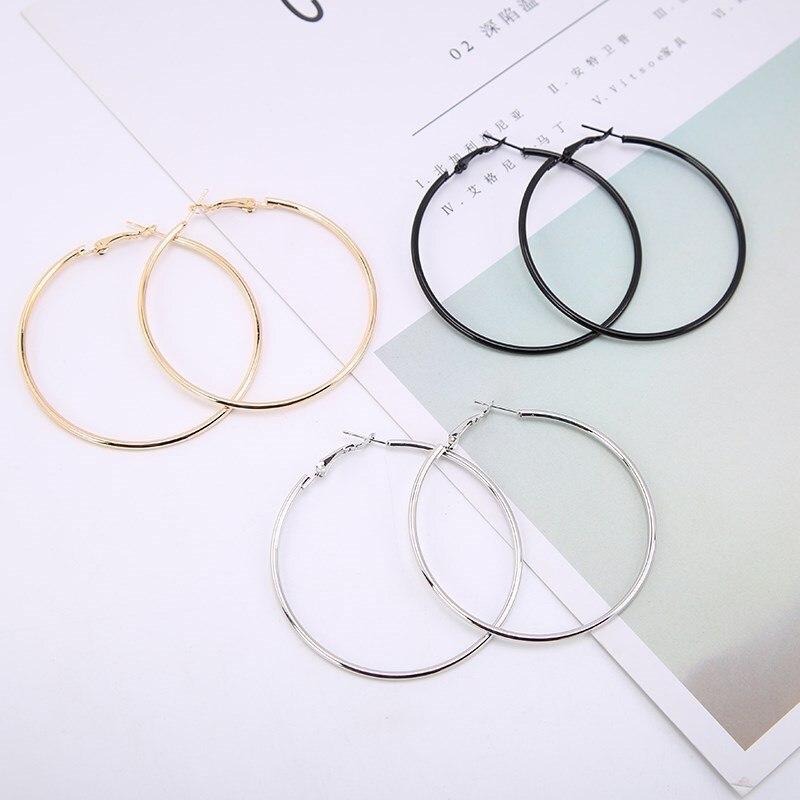 1 paar Mode Frauen Mädchen Trendy Große Creolen Große Glatte Kreis Ohrringe Marke Schleife Ohrringe Schmuck