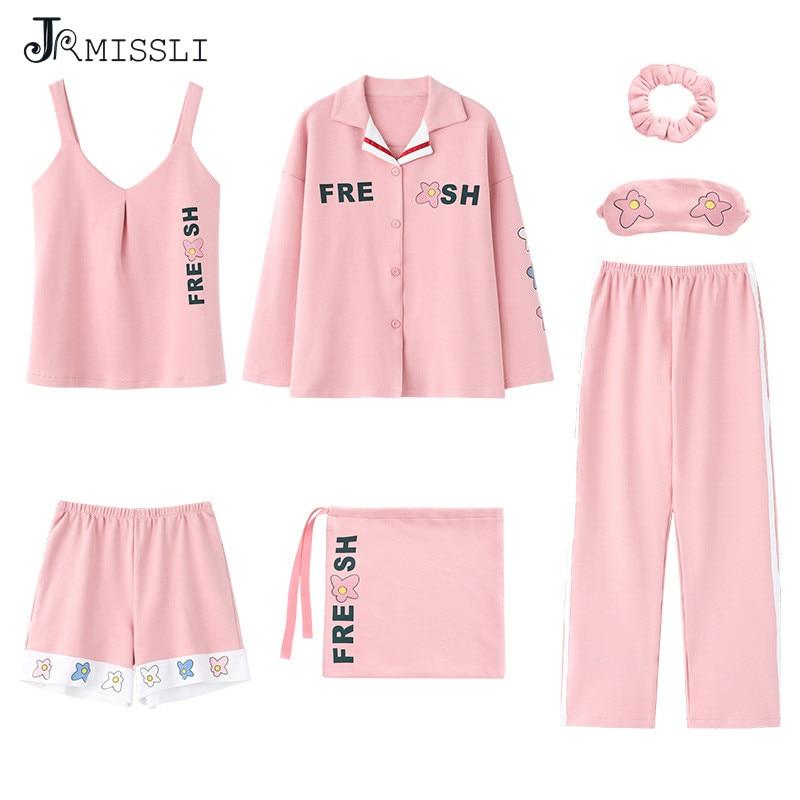 JRMISSLI 2020 conjuntos de pijamas de algodón de 7 piezas ropa de dormir para niñas Pijama de Mujer ropa de Mujer conjunto de pijamas