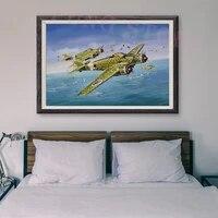Peinture retro classique T015 38 operations de vol davion de guerre  affiche en soie personnalisee  decoration murale  cadeau de noel