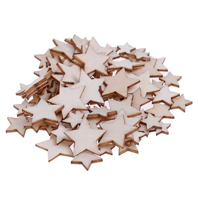100 pçs 10/12/15/20mm madeira estrela moda festa de madeira diy decorações aglomerado decoração para casa diy scrapbooking natal