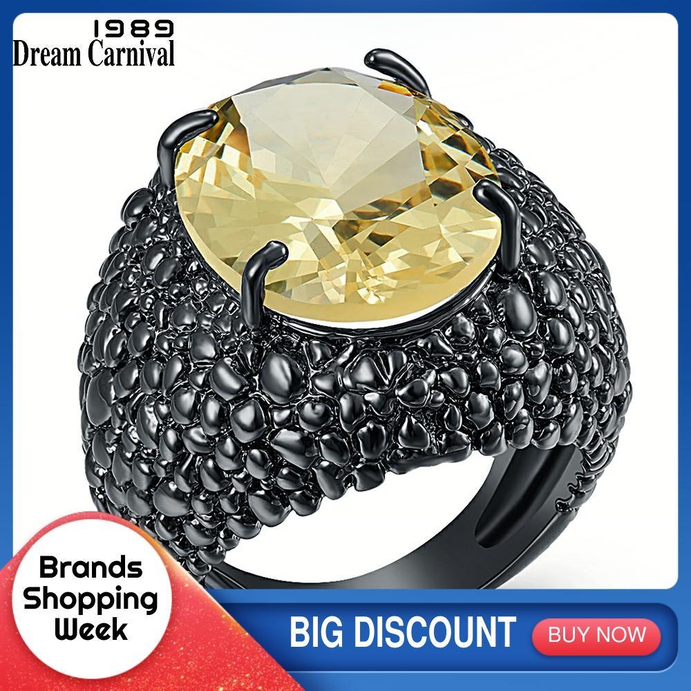 DreamCarnival 1989, anillos grandes de lagarto negro CZ para mujer, joyería de compromiso deslumbrante y genial, zirconia de corte fino, moda 2020, Hot WA11870