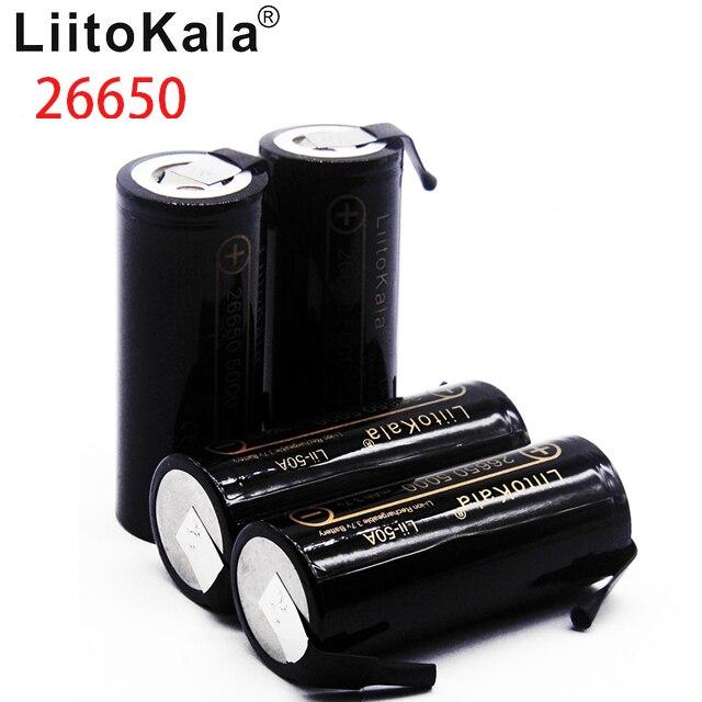 LiitoKala Lii-50A 26650 5000mah 26650-50A Li-ion 3.7v batterie Rechargeable pour lampe de poche 20A + bricolage Nickel feuilles