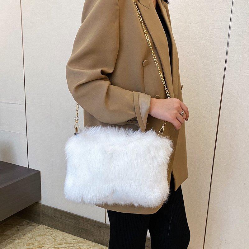 Белый Наплечная Сумка из искусственного меха Женская зимняя обувь теплые мужские сумки через плечо, для женщин, цепочка, конверт сумка женские сумки и кошельки 6537 Сумки с ручками      АлиЭкспресс