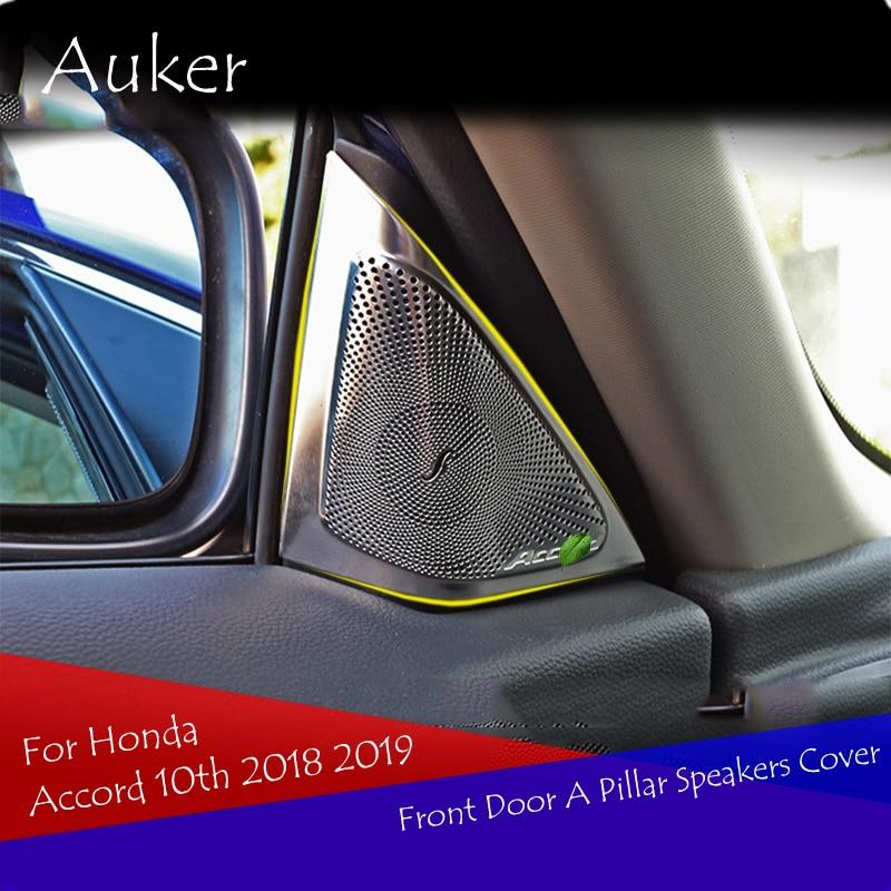 Stainless Steel Car modeling Inner Front Door A Pillar Speakers Cover Trim 2Pcs/Set For Honda Accord 2018 2019