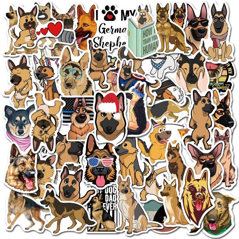 50 pçs pastor alemão bonito cães à prova dwaterproof água dos desenhos animados adesivo para bagagem do carro guaitar skate telefone portátil bicicleta adesivos f4