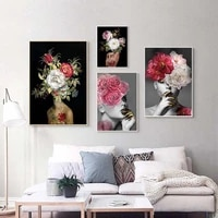 modern flower on the head female oil painting on canvas print nordic poster wall art picture for living room home decoration