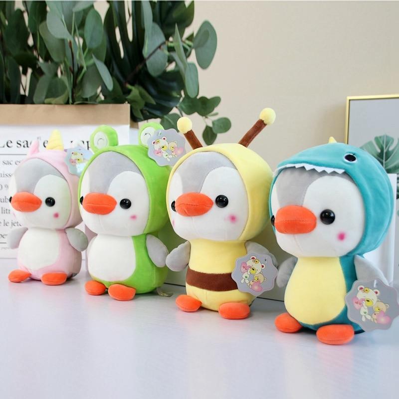 Hot 23cm Pinguim Transformar Unicórnio Bee Sapo Dinossauro De Pelúcia Boneca de Brinquedo Macio Stuffed Animal Bebê Apaziguar Brinquedos Meninas Dos Namorados presente