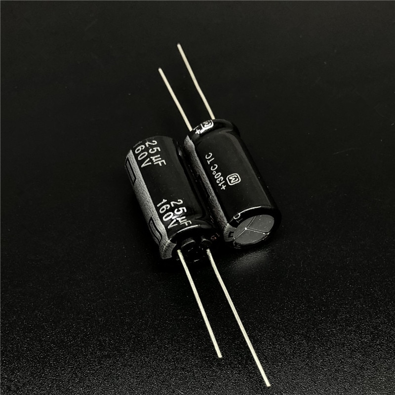 10 uds/100 Uds 25uF 160V Pana serie TC 10x20mm de alta temperatura de 130 grados 160V25uF condensador electrolítico de aluminio