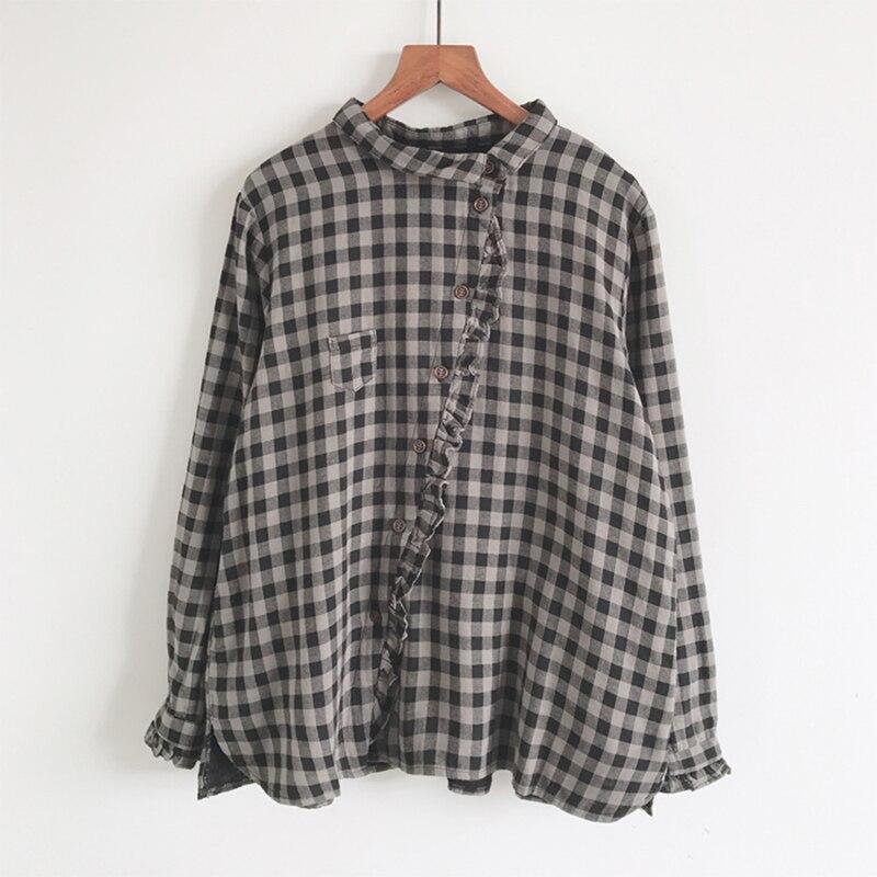 100% القطن منقوشة النساء قمصان الخريف جديد بدوره إلى أسفل طوق الكشكشة خليط منقوشة فضفاضة خمر عارضة الإناث أبلى قمم