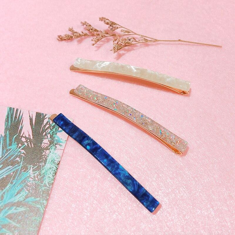 Elegant Marble Leopard Print Long Barrettes Acrylic Thin Hairpins New Women Headwear Hair Clip Fashion Hairpin Hair Accessories