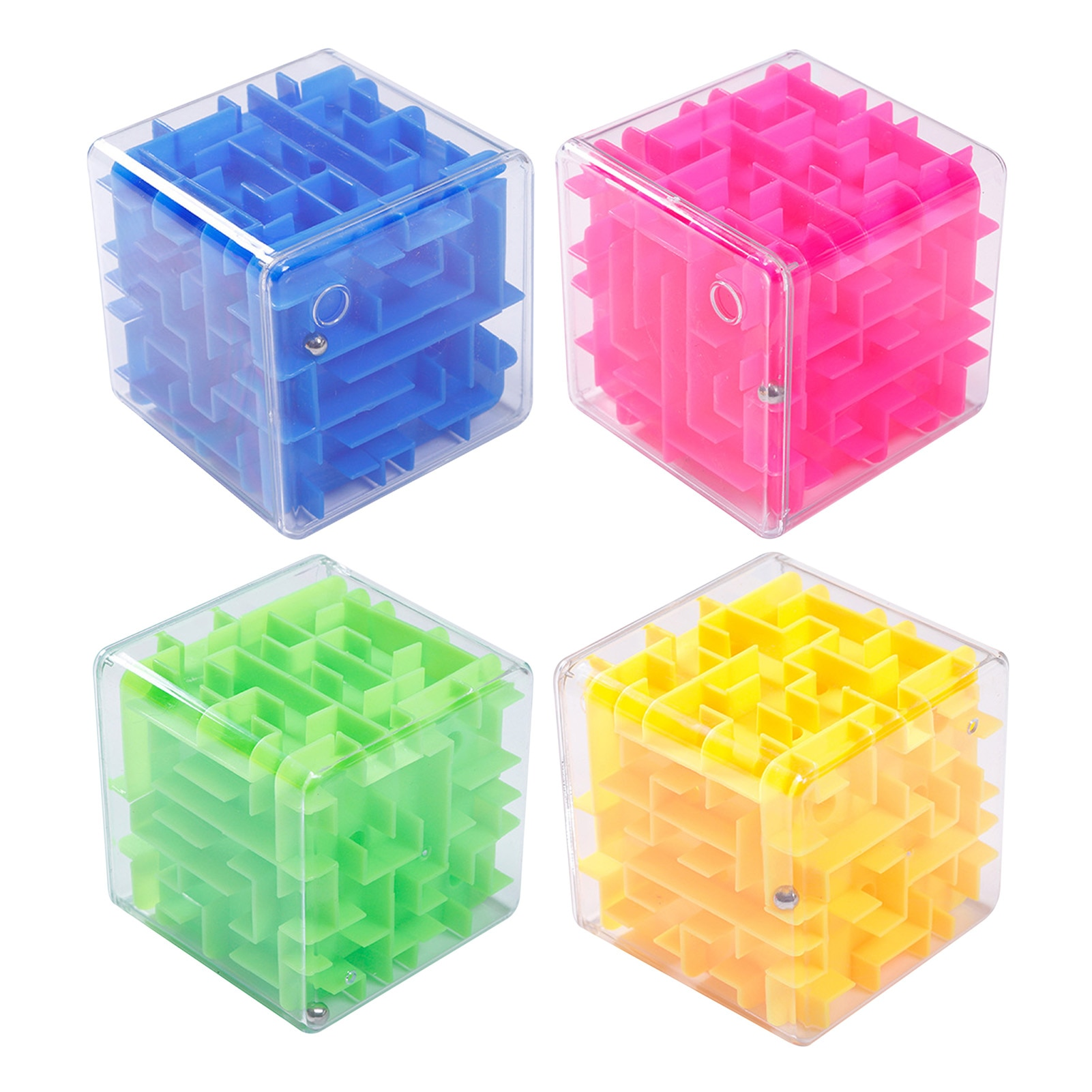 Child 3D Maze Magic Cube Six-sided Labyrinth Rolling Ball Toy Children Maze Money Box Through Maze Brain Teaser Toy Puzzle Game