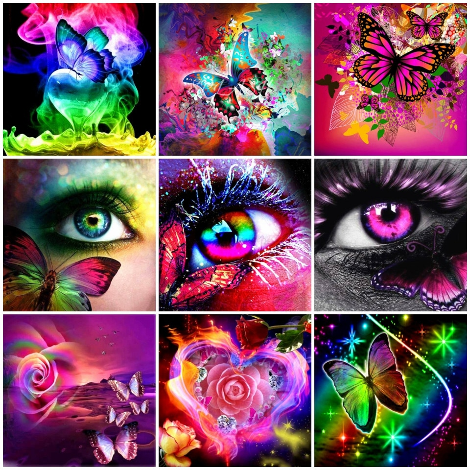 AZQSD 5d pintura con diamantes mariposa Animal completo cuadrado/bordado de diamantes redondos venta ojo decoración del hogar regalo hecho a mano