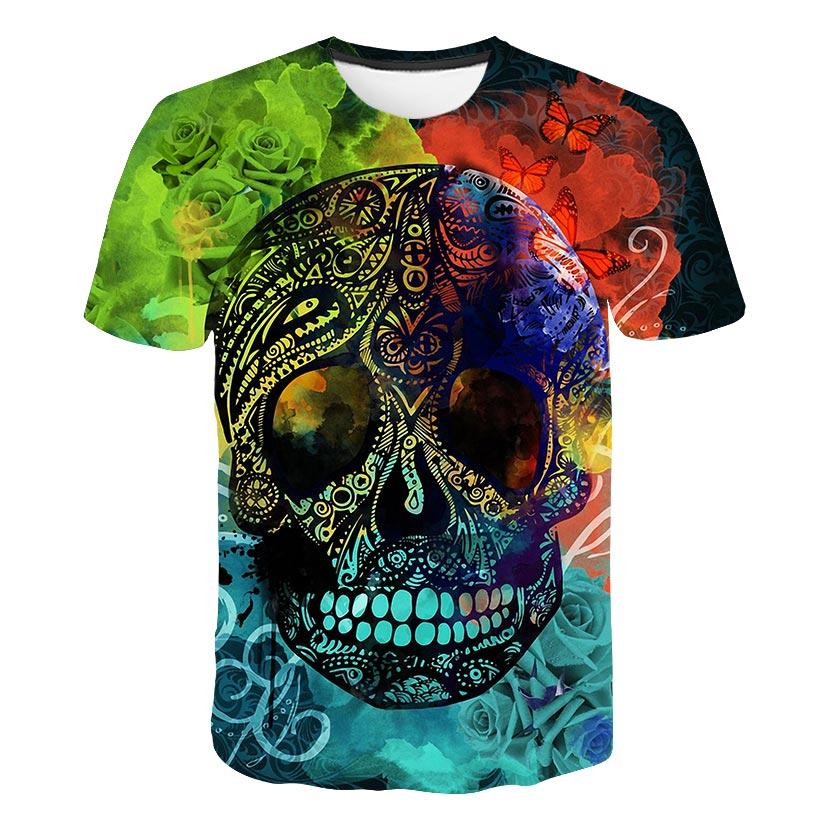 Skull T shirt kids T-shirt Punk Rock Tshirt Gun T shirts 3d Print T-shirt children Clothing Summer tops boys and girls tee