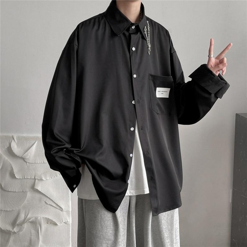 Осенняя хлопковая черно-белая рубашка Мужская модная общественная Мужская классическая рубашка Корейская Свободная рубашка с длинным рук...