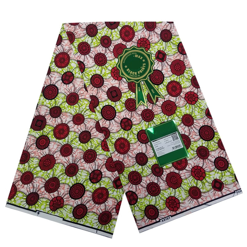 Veritable African Ankara Wax Printed Cotton Fabric 100%Breathable Real Soft Nigerian Sewing Material For Dress 6 Yards S-P 5-25