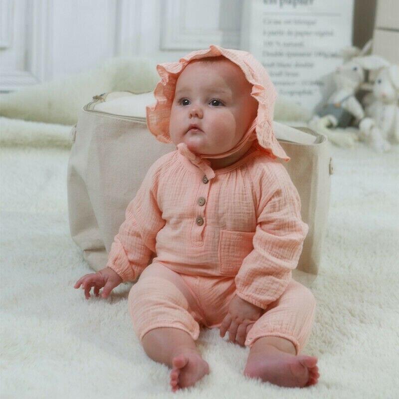 2019 nuevo mameluco de algodón de bolsillo sombrero de niño bebé niña niños 2 piezas ropa de otoño 0-24M