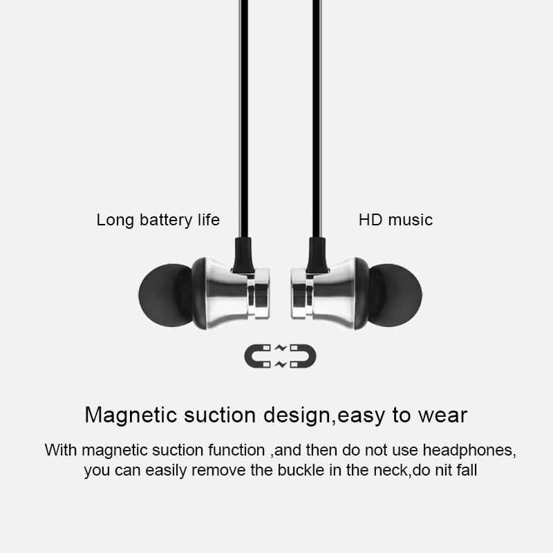 Fone de ouvido sem fio com bluetooth, headset esportivo estéreo magnético para iphone xiaomi huawei samsung redmi