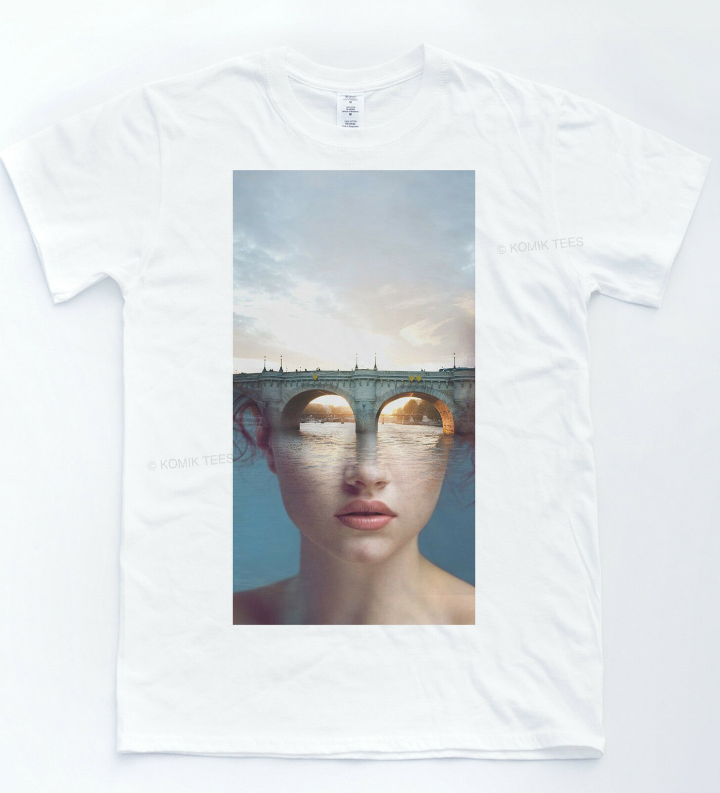 Ilusión óptica camiseta pintura arte moda Tee Indie Alfresco parte superior