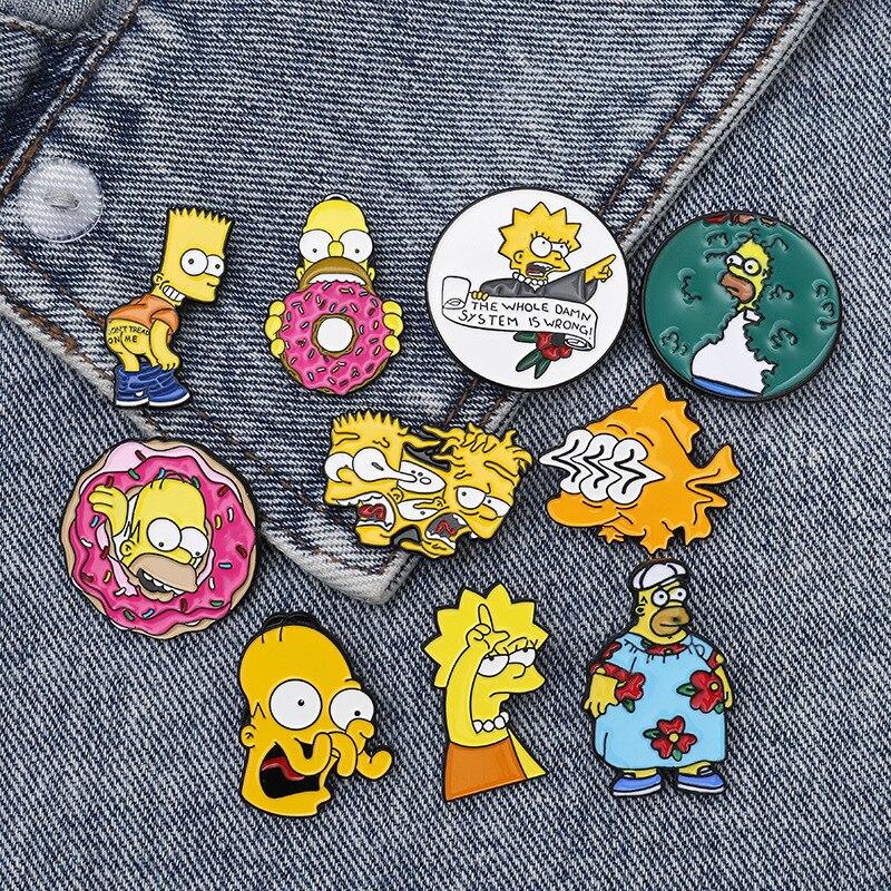 ТВ-пончик-забавные-дизайнерские-броши-значки-Юмор-стильная-футболка-с-изображением-персонажей-видеоигр-эмаль-на-булавке-значок-материал-д