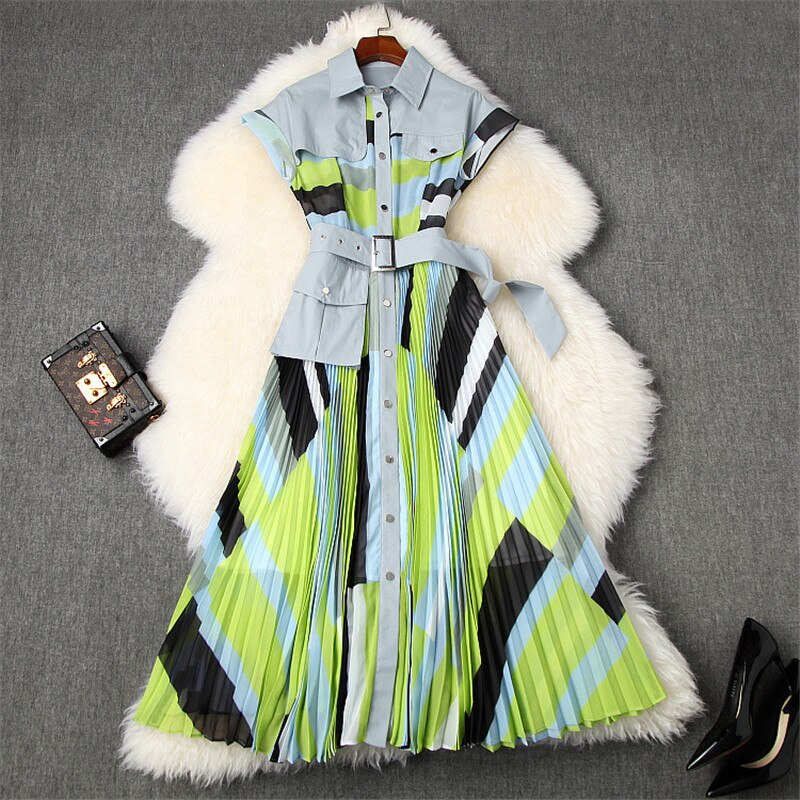 2020 Fashion Turn Down Collar Shirt Patchwork Print Midi Pleated Dress High Quality Runway Dress Summer Designer Woman Clothes