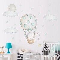 Мультфильм Детские наклейки на стену в виде слона для детской комнаты украшение для детской комнаты горячий воздух воздушный шар наклейки ...