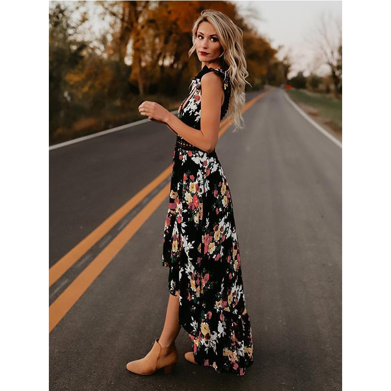 Summer Women BOHO Backless Deep V-Neck Lace Ruffles  Sleeveless Vintage Split Black White Floral Printed Beach Maxi Dress