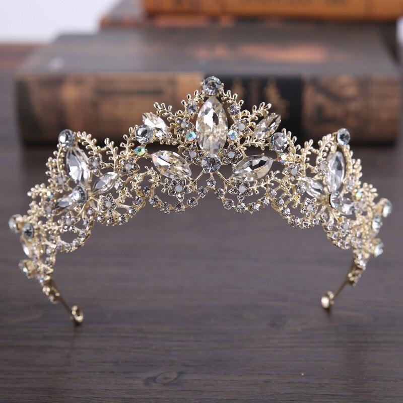 AiliBride de moda barroco de cristal de lujo de AB corona nupcial Tiaras luz oro diadema, tiara de novia de la boda accesorios para el cabello