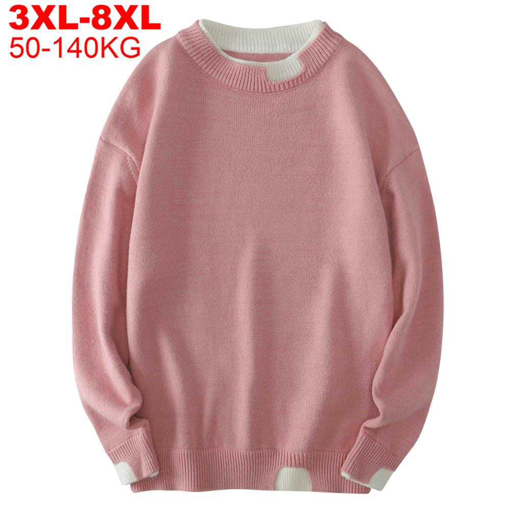 Men's Pullovers Knitted Large Size 8xl Ripped Sweaters For Men Autumn Winter Plus Size Knitwear Hip Hop Mens Oversized Sweater