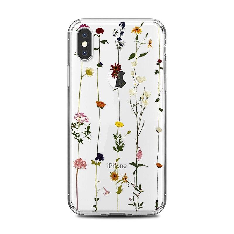 Funda de teléfono Floral de primavera y verano para iphone 11 pro max x Xs max Xr 6 6s 7 8 plus SE 2020 funda trasera de TPU suave
