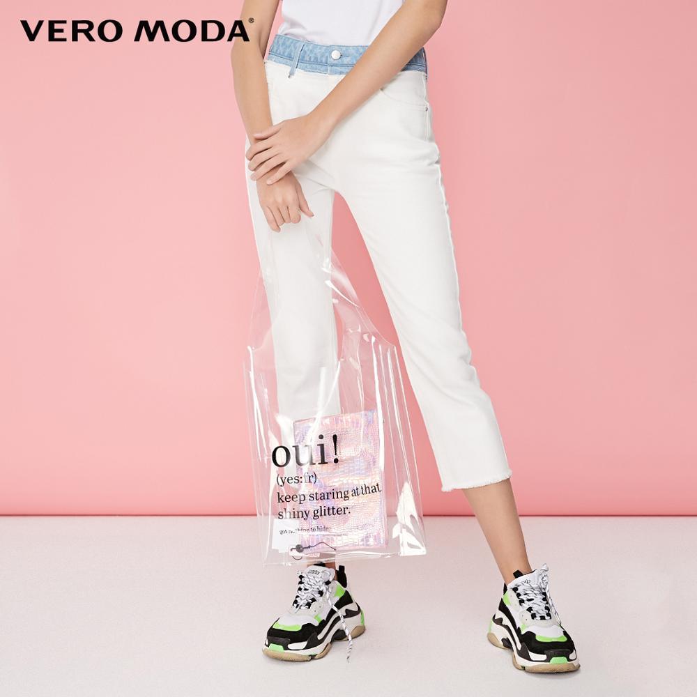 Vero Moda frauen 100% Baumwolle Slim Fit High-aufstieg Raw-rand Manschetten Capri Jeans   31926I543