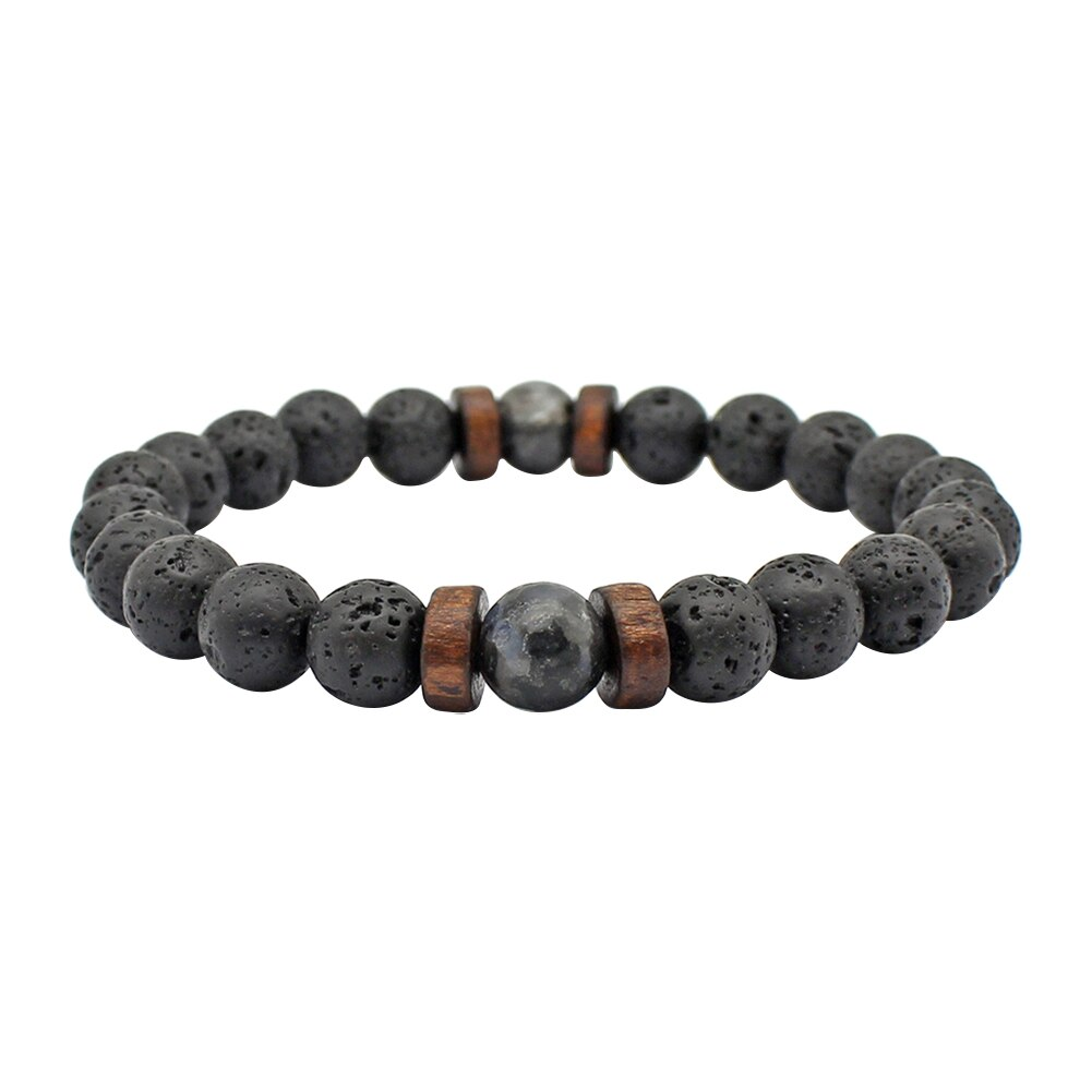 2020 Natural Stone Couple Bracelet Men Bacelets Handmade Lava Stone Wood Beads Bracelet For Male Fem