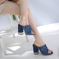 zar a woman 2021 shoes spring summer new fashion slippers denim 11cm thick high heels sandals prom women luxury brand plus size