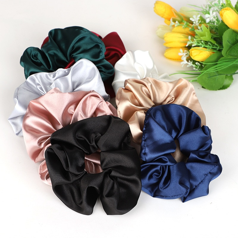 Satin Scrunchies For Women Girls Soft Elastic Hair Rubber Fashion Silk Hair Rope Ponytail Holder Haarband Decoration 2021 New