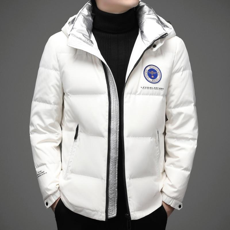 Мужские Белые зимние пальто, Новое поступление 2021, мужские короткие теплые куртки с капюшоном на 90% белом утином пуху (зима)