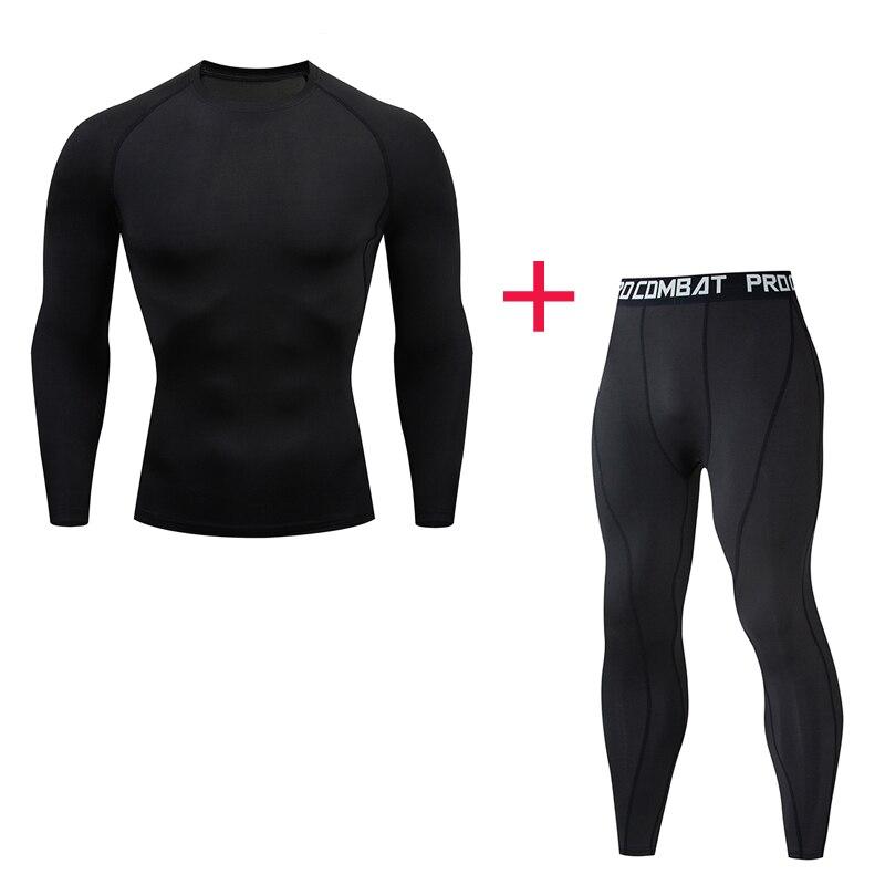 Hommes marque vêtements mode motif sous-vêtement thermique ensemble de survêtement Fitness chemise hommes Leggings 2 pièces Rashgarda MMA