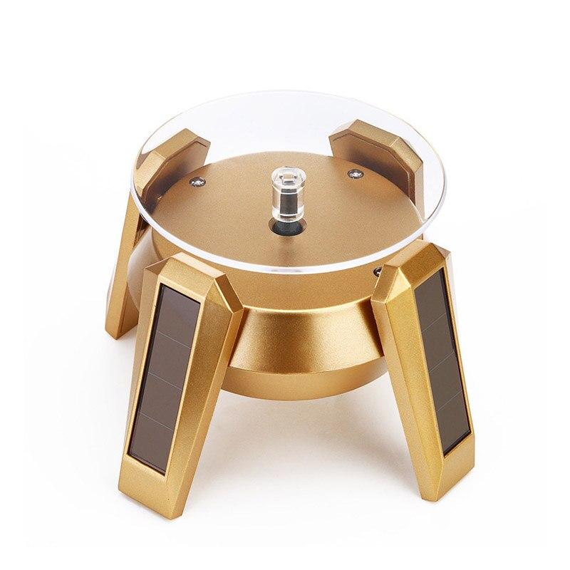 Nuevo soporte de exhibición de Joyas con energía Solar giratorio de 360 grados, collar, anillo, pendiente, pulsera, mesa giratoria, luz LED, soporte de reloj SCI