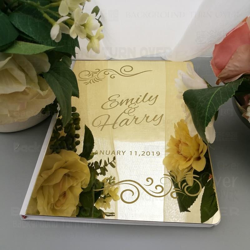 Livro de Hóspedes Personalizado em Branco Casamento Gravar Carve Espelho Nomes Personalizados Data Favor Festa Decoração Assinatura Branca G018