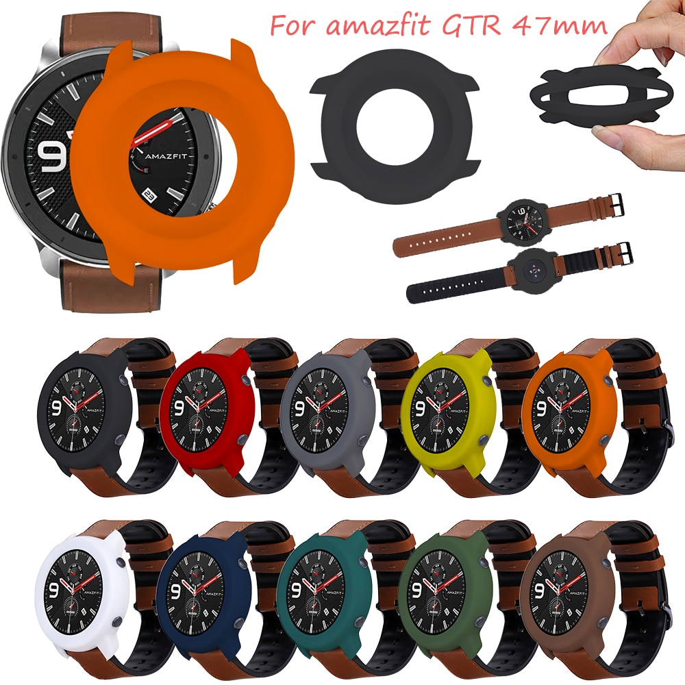 For Huami amazfit GTR 47mm soft silicone Case Cover Protective Shell Frame Smart watch Shockproof Wearable accessories