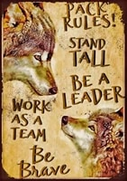 pack rules stand tall work as team wolves rustic metal plate tin sign vintage retro man cave kitchen yard wall decor