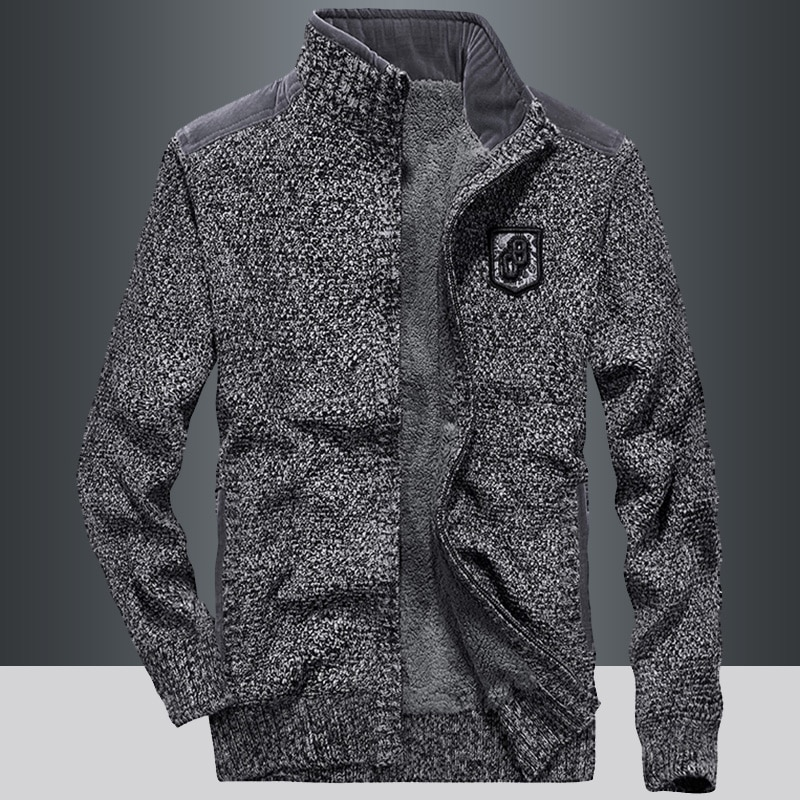 Men Sweater Coat Cardigan Zipper 2021 New Winter Trend Plus Velvet Keep Warm Male Thermal Sweater Pocket Thick Black Gray M69