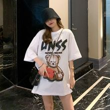 Cotton short-sleeved T-shirt loose Korean printed cartoon top summer street hip-hop bear fashion women tide brand moschino